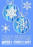 Christmas blue background with two christmas balls and snowflake motif. Royalty Free Stock Images