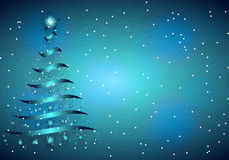 Christmas blue background. Vector art illustration Christmas tree Stock Images