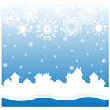 Christmas blue background with white snowflakes Royalty Free Stock Photo
