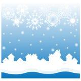 Christmas blue background with white snowflakes Royalty Free Stock Photo