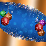 Christmas Blue Background. Winter holiday balls for christmas and new year greeting cards Stock Image