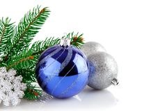 Christmas blue ball with branch firtree Royalty Free Stock Images