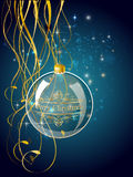 Christmas blue ball decoration with gold Royalty Free Stock Photo