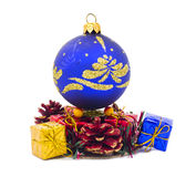 Christmas blue ball and fancy boxes Stock Photos