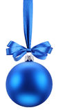 Christmas blue ball on the festive ribbon. Royalty Free Stock Photos