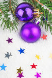 Christmas blue ball on fir tree Stock Photos