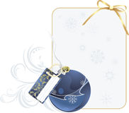 Christmas blue ball with holiday card Royalty Free Stock Photo