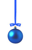 Christmas blue ball isolated over white Stock Image