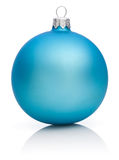 Christmas Blue Ball Isolated on white Stock Images