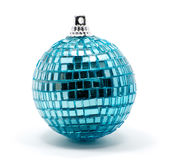 Christmas blue ball over white. Isolated blue Christmas tree ball with glitters over white royalty free stock images