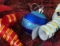 Christmas blue ball and ribbon Royalty Free Stock Images