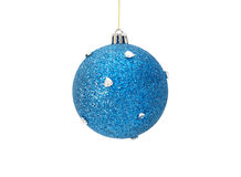 Christmas blue ball with silver hearts Stock Photo
