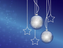 Christmas blue balls. On gradient background with stars Stock Photos