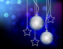 Christmas blue balls. On gradient background with stars Stock Images