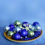 Christmas blue balls and beads Stock Image