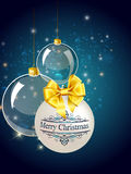 Christmas blue balls decoration with gold Stock Images