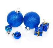 Christmas blue balls and gift boxes Royalty Free Stock Photography
