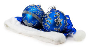 Christmas blue balls on Santa hat isolated on the white backgrou Royalty Free Stock Images