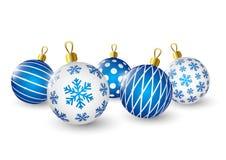 Christmas blue balls on white Royalty Free Stock Image