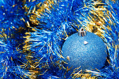 Christmas blue bauble Stock Images