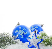 Christmas blue bauble and snow tree Royalty Free Stock Images