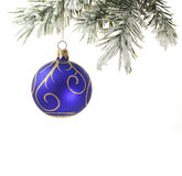 Christmas blue bauble and tree isolated Stock Image
