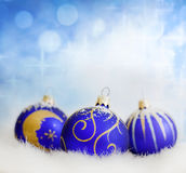 Christmas blue baubles abstract Stock Image