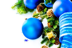 Christmas Blue Baubles And Decoration Stock Images