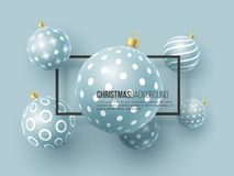 Christmas blue baubles with geometric pattern. 3d realistic style with black frame, abstract holiday background, vector. Christmas blue baubles with geometric stock illustration