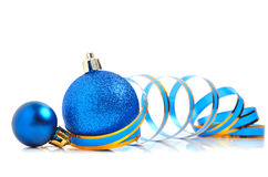 Christmas blue baubles with a ribbon Stock Photo