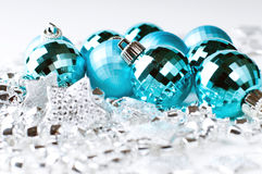 Christmas blue baubles and silver decoration royalty free stock photos