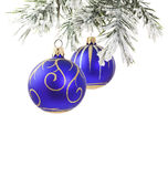 Christmas blue baubles and tree stock photography