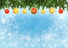 Christmas blue color background with Christmas tree decorated balls stock images