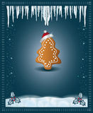 Christmas blue congratulations card gingerbread Stock Photos