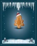 Christmas blue congratulations card gingerbread Stock Photos