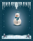 Christmas blue  congratulations card snowman Stock Photo