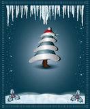 Christmas blue  congratulations card tree Royalty Free Stock Images