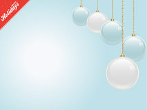 Christmas blue copy space with baubles Royalty Free Stock Photos