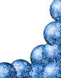 Christmas Blue Corner Frame. Elegant Beautiful Christmas Bright Blue Corner Frame with Festive Bauble Balls and Lacy White Stars over Blank White Background Royalty Free Stock Image
