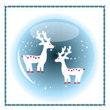 Christmas Blue Crystal Ball. Christmas Crystal Ball that design with two deers Royalty Free Stock Images