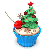Christmas Blue Cupcake Cherry Royalty Free Stock Photos