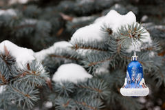 Christmas blue decoration. Blue decoration bell on Christmas tree in park Stock Photos