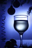 Christmas blue decorations beverage. Xmas baubles. Royalty Free Stock Images