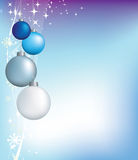 Christmas blue decorations and stars Stock Images