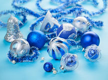 Christmas blue decorations still life Royalty Free Stock Photo