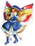 Christmas blue fairy isolated on white bg Stock Image