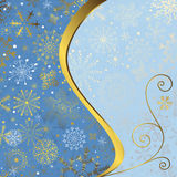 Christmas blue frame. With gold wave line and snowflakes vector illustration
