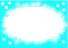 Christmas blue frame. Christmas blue background with snowflake arround Royalty Free Stock Photography