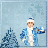 Christmas blue frame with Christmas tree and snowflakes. Royalty Free Stock Photo