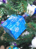 Christmas blue gift Stock Image